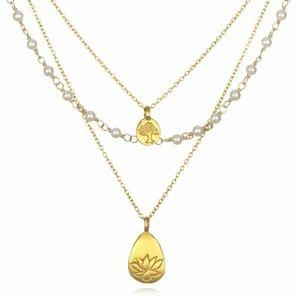 SATYA Gold Pearl Tree & Lotus Thrive Necklace